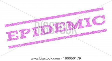 Epidemic watermark stamp. Text tag between parallel lines with grunge design style. Rubber seal stamp with dirty texture. Vector violet color ink imprint on a white background.