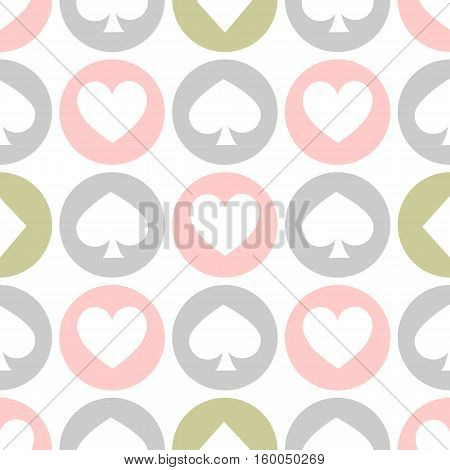 seamless pattern. EPS 10 vector illustration. used for printing websites design interior fabrics etc. White spades hearts and diamonds on colored circles