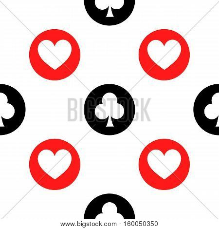 seamless pattern. EPS 10 vector illustration. used for printing websites design interior fabrics etc. white hearts and clubs on a black and red bowl on a white background