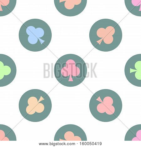 seamless pattern. EPS 10 vector illustration. used for printing websites design interior fabrics etc. colorful clubs on a green bowl on a white background.