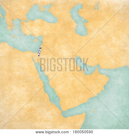 Map Of Middle East - Israel With West Bank And Gaza
