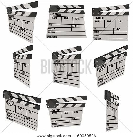 Cinema clapperboard. 3D render isolated on white. Filmmaking and video production device set.