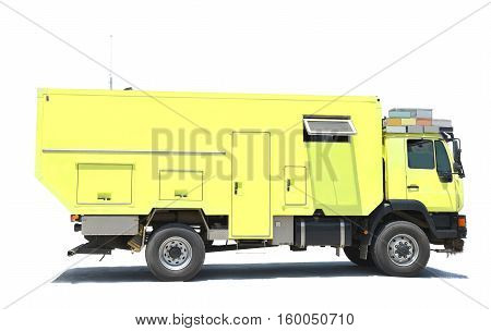 Big recreational caravan type vehicle isolated on a white background
