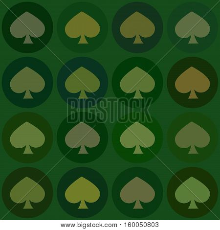 seamless pattern. EPS 10 vector illustration. used for printing websites design interior fabrics etc. card spade suit on a green background Christmas.