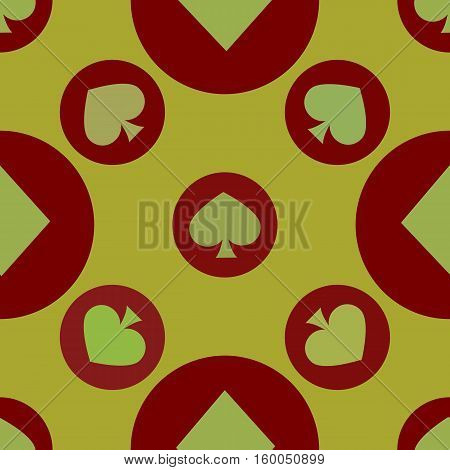 seamless pattern. EPS 10 vector illustration. used for printing websites design  interior fabrics etc. card spade suit on a red circle on a yellow background.