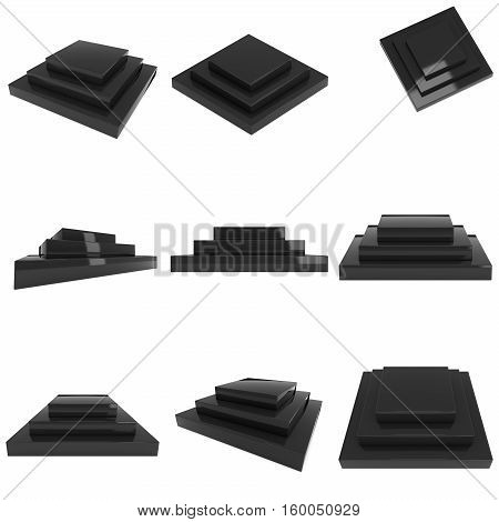 Square stage black podium for award ceremony set. 3D render illustration pedestal isolated on whithe background