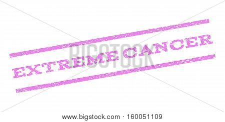 Extreme Cancer watermark stamp. Text caption between parallel lines with grunge design style. Rubber seal stamp with scratched texture. Vector violet color ink imprint on a white background.
