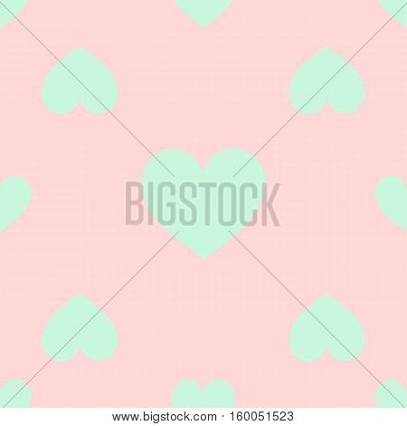 seamless pattern. EPS 10 vector illustration. used for printing websites design  interior fabrics etc. light green heart on a light pink background.