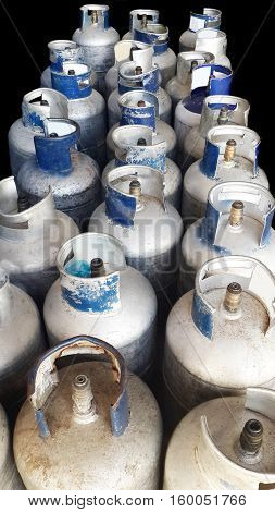 Close up of propane gas bottles isolated on a black background