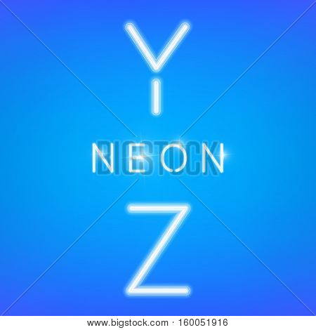 Neon vector letters collection. Glowing neon font.