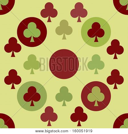 seamless pattern. EPS 10 vector illustration. used for printing websites design interior fabrics etc. poker card game gambling theme clubs on green background.