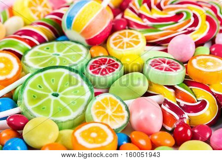Colorful Lollipops And Different Candy
