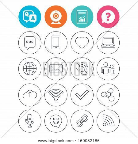 Communication icons. Smartphone, laptop and speech bubble symbols. Wi-fi and Rss. Online love dating, mail and globe thin outline signs. Report document, question and answer icons. Web camera sign