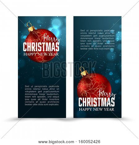 Christmas web banners set with red and gold ball and sparckle blurred background. Vector Illustration.