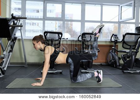 Healthy young sportswoman doing the exercises on all fours arching back straightening leg up concept sport fitness lifestyle.