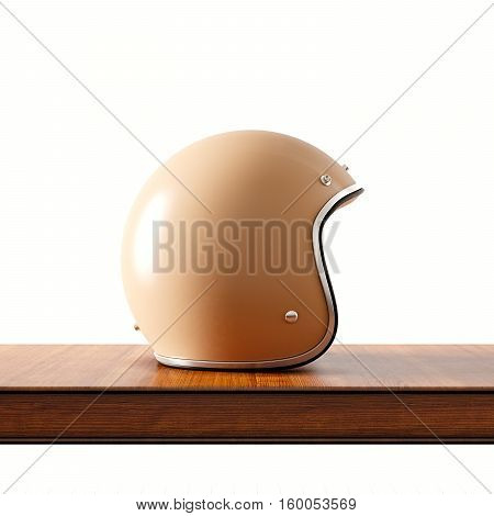 Side view of brown color vintage style motorcycle helmet on natural wooden desk.Concept of classic object on white background.Square.3d rendering