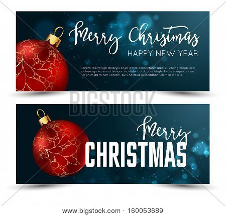 Christmas web banners set with red and gold ball and sparcle blurred background. Vector Illustration.