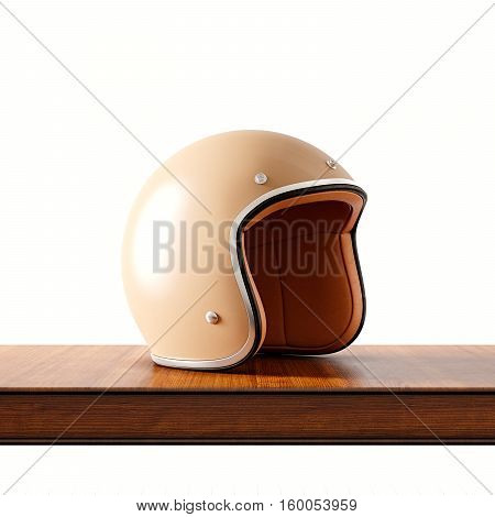 Side view of brown color retro style motorcycle helmet on natural wooden desk.Concept classic object white background.Square.3d rendering