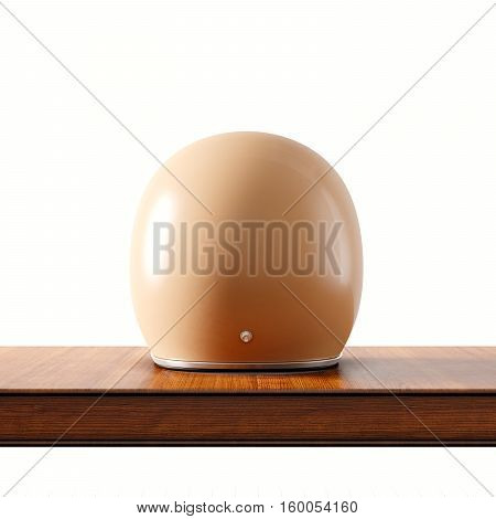 Back side view of brown color vintage style motorcycle helmet on natural wooden desk.Concept classic object white background.Square.3d rendering