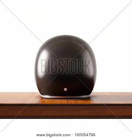 Back side view of black color vintage style motorcycle helmet on natural wooden desk.Concept classic object white background.Square.3d rendering