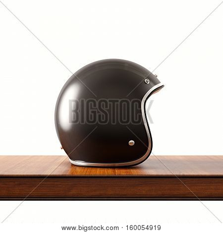 Side view of black color vintage style motorcycle helmet on natural wooden desk.Concept classic object isolated at white background.Square.3d rendering