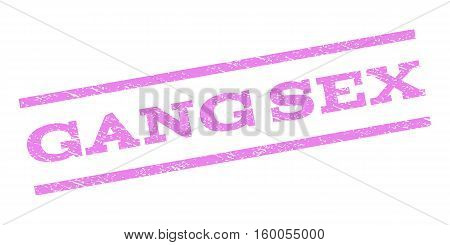 Gang Sex watermark stamp. Text caption between parallel lines with grunge design style. Rubber seal stamp with dirty texture. Vector violet color ink imprint on a white background.