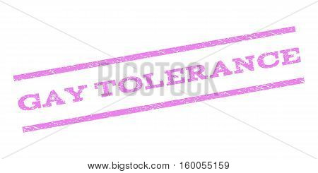 Gay Tolerance watermark stamp. Text tag between parallel lines with grunge design style. Rubber seal stamp with scratched texture. Vector violet color ink imprint on a white background.