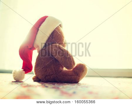 Christmas picture of cute Santa Claus teddy bear