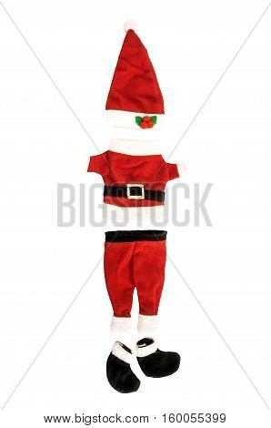 Santa Claus holiday suit isolated over white. Christmas theme. Vertical. Front view.
