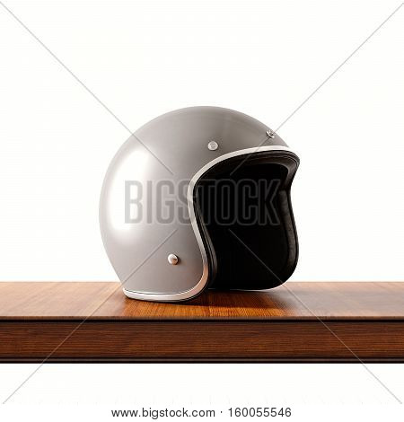 Side view of gray color retro style motorcycle helmet on natural wooden desk.Concept classic object white background.Square.3d rendering