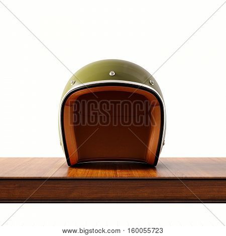 Front side view of green color vintage style motorcycle helmet on natural wooden desk.Concept classic object isolated white background.Square.3d rendering