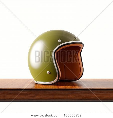 Side view of green color retro style motorcycle helmet on natural wooden desk.Concept classic object isolated white background.Square.3d rendering