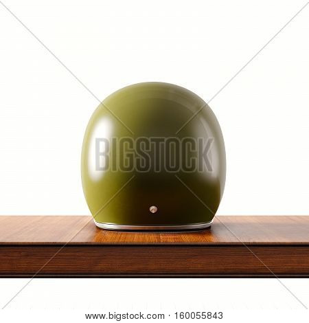 Back side view of green color vintage style motorcycle helmet on natural wooden desk.Concept classic object isolated white background.Square.3d rendering