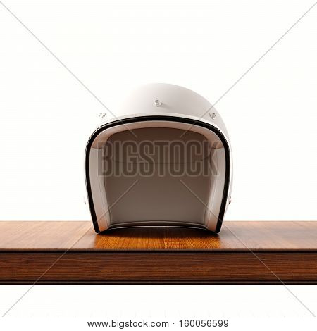 Front side view of white color vintage style motorcycle helmet on natural wooden desk.Concept classic object at empty background.Square.3d rendering