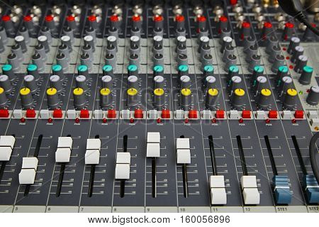 Sound mixer board close up