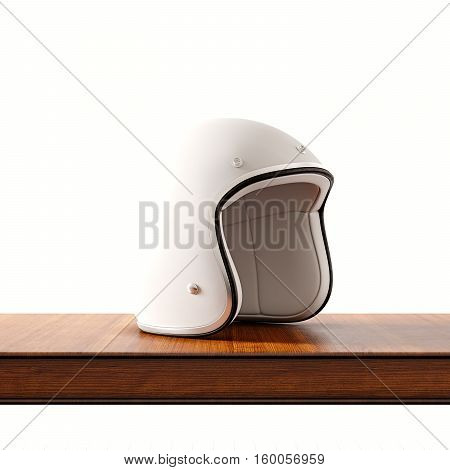 Side view of white color retro style motorcycle helmet on natural wooden desk.Concept classic object at empty background.Square.3d rendering