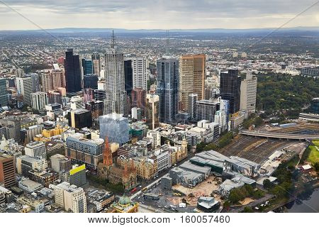 Melbourne, Australia from bird's eye view