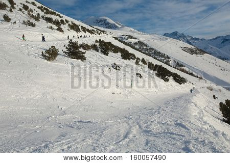 View of the ski slopes of Les Deux Alpes