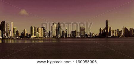 The beautiful and modern skyline of tall city building of Downtown Panama