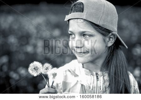 Girl With Dandelions Bw