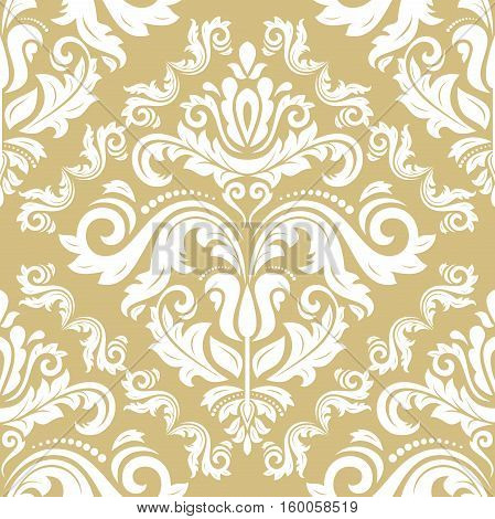 Seamless classic vector white and golden pattern. Traditional orient ornament. Classic vintage background
