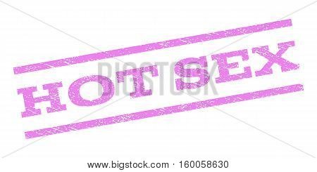 Hot Sex watermark stamp. Text caption between parallel lines with grunge design style. Rubber seal stamp with scratched texture. Vector violet color ink imprint on a white background.