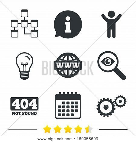 Website database icon. Internet globe and gear signs. 404 page not found symbol. Under construction. Information, light bulb and calendar icons. Investigate magnifier. Vector