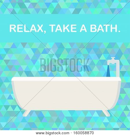 Bath on the background made of triangles. Relax, take a bath. Vector illustration.