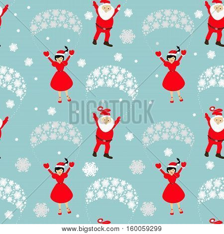 seamless pattern. EPS 10 vector illustration. used for printing websites design  interior fabrics etc. Christmas theme. Santa Claus on a parachute flying across the sky with Mrs. Santa Claus hands up.