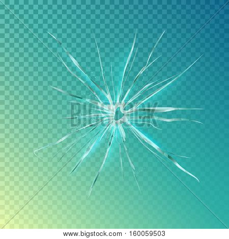 Crack on window or glass, shattered screen background or hole in mirror. Crack on window surface or wrecked glass, damaged screen or broken glass. For vandalism or anger theme background