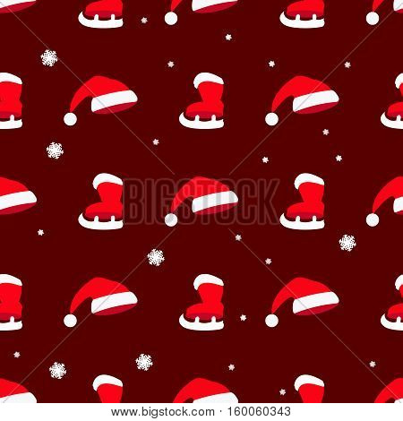 seamless pattern. EPS 10 vector illustration. used for printing websites design interior fabrics etc. Christmas theme. hat hat Santa Claus and horses