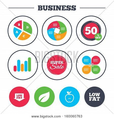 Business pie chart. Growth graph. Low fat arrow icons. Diets and vegetarian food signs. Apple with leaf symbol. Super sale and discount buttons. Vector