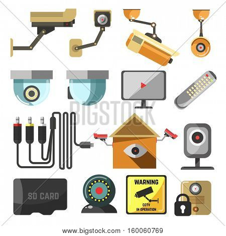 CCTV set. Security and surveillance elements collection. Hidden camera, street security video cameras. Vector Illustration. Isolated on white.