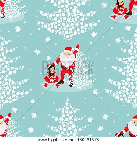 seamless pattern. EPS 10 vector illustration. used for printing websites design  interior fabrics etc. Christmas theme. tree from snowflakes on a blue background with Sata Claus and baby elf.